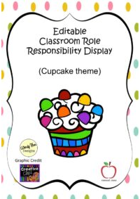 Cupcake Classroom Responsibilities Display