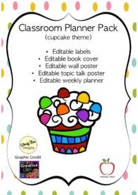 Editable Cupcake Classroom Planner Pack