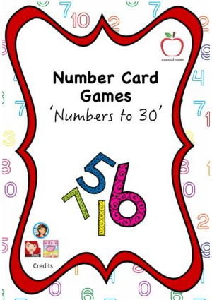 Number Card Game  - Numbers to 30