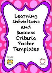 Learning Intentions and Success Criteria Templates