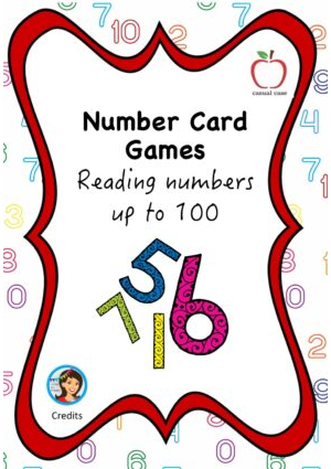 Number Card Game  - Numbers to 100